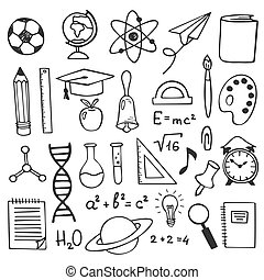School education sketch drawing icons. Hand drawn education elements illustration. Science, geography and biology, physics and mathematics, astronomy and chemistry doodle sketch
