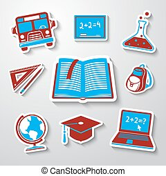 School, education sticker icons set with - globe, notebook, blackboard, backpack, text book, graduation cap, school bus, science bulb, pencil and ruler.