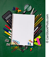 school education supplies items - close up of various school...