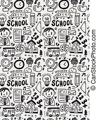 School elements doodles hand drawn line icon, eps10