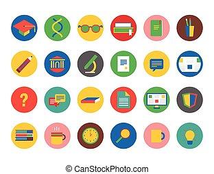 school, elements., iconen, scholieren, set., symbool., opleiding, vector, universiteit, ontwerp, opleiding, of, liggen