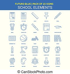School Elements Icons - Futuro Blue 25 Icon pack