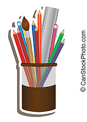 School elements - Illustration of pencil case, school...