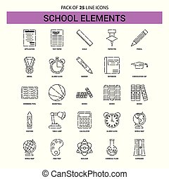 School Elements Line Icon Set - 25 Dashed Outline Style