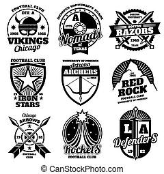 School emblems, college athletic teams sports labels, t-shirt graphics vector collection
