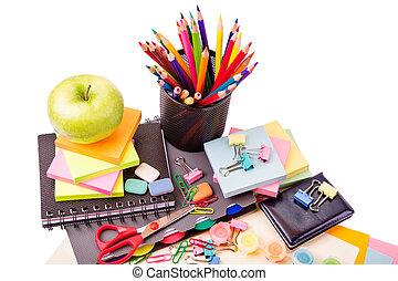school, en, kantoor, stationary., rug te onderrichten,...