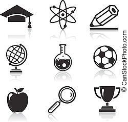 school, en, opleiding, iconen