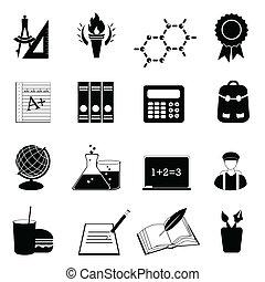 school, en, opleiding, pictogram, set