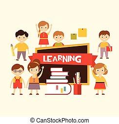 school., encantador, aprender, costas, crianças