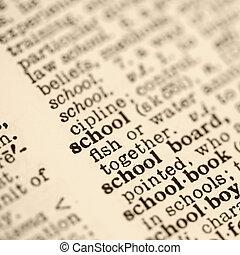school, entry., woordenboek