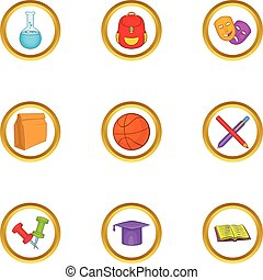 School equipment icons set, cartoon style