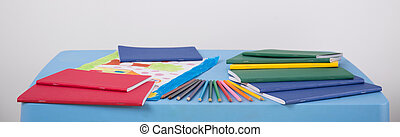 School equipment lying on table