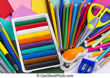 School equipment set on white background.