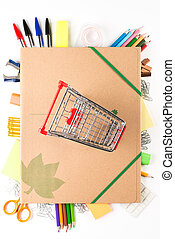 School equipment with caddy on white background