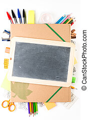 School equipment with slate on white background