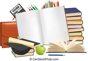 school., espalda, escuela, bloc