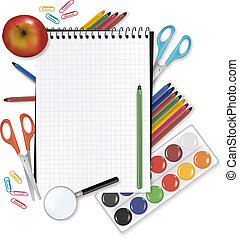school., espalda, suministros, nota