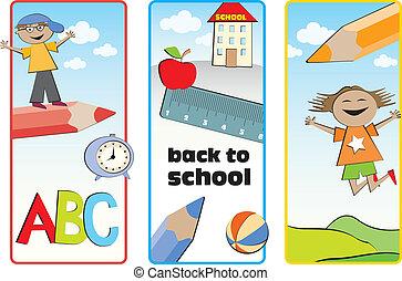 school, etiketten, back