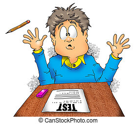 School Exam Terror001 - A boy finds his test pretty scary.