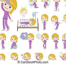 school fair skin girl purple jersey_sickness - A set of...