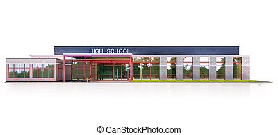 School fasade on the white background. 3d illustration