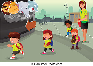 School field trip to a zoo - A vector illustration of school...