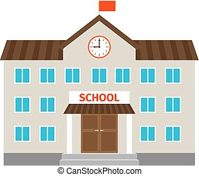 School flat building icon