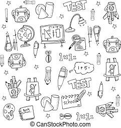 School flat doodles collection
