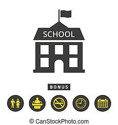 School flat icon on white background.