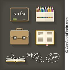 School flat icons book pencil briefcase and blackboard
