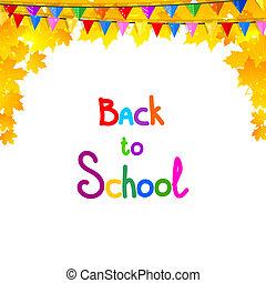 school., folhas, costas, outono, fundo, pins., maple, ve