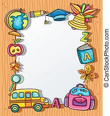 School frame - Cute grunge frame with colorful school icons,...