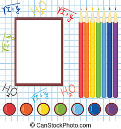 school frame with pencils