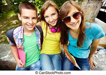 School friends - Portrait of a group of good school friends...