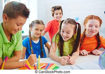 School friends talking