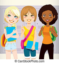 Three teenage schoolgirls back to school happy carrying folders and backpacks in front of school lockers
