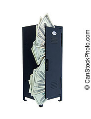 Black metal locker used to store items while participating in extra curricular activities full of money-Path included