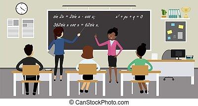 school furniture and education process,classroom interior,