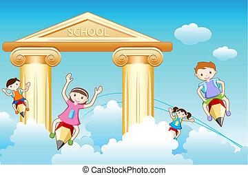 school, gaan, geitjes