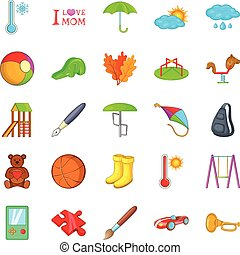 Vector set of camping, hiking icons for little children