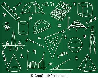 school, -, gedaantes, toebehoren, wiskunde, geometrisch, ...