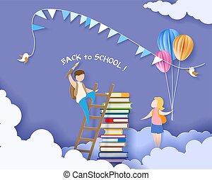 school geitjes, boekjes , back, kaart