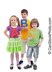school geitjes, brieven, -, back, groot, alfabet, vasthouden
