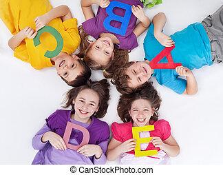 school geitjes, brieven, kleurrijke, alfabet, vrolijke