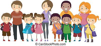 school geitjes, en, hun, ouders