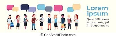 school geitjes, groep, praatje, ruimte, vrijstaand, kinderen, malen, vermalen, hardloop, achtergrond, witte , kopie, anders, bellen, leerlingen