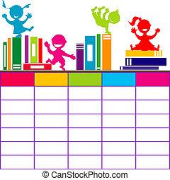 school geitjes, spotprent, boekjes , tijdschema, spelend