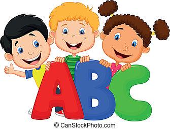 school geitjes, spotprent, met, alfabet