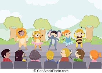 school geitjes, stickman, toneelstuk, ouders, toneel