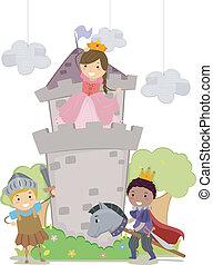 school geitjes, stickman, toneelstuk, ridders, prinsesje